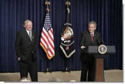 President George W. Bush appears on stage, Thursday, Oct. 6, 2005 at the Eisenhower Executive Office Building in Washington, with William F. Buckley, Jr., to honor the 50th anniversary of National Review magazine, which was founded by Buckley, and to recognize Buckley's upcoming 80th birthday.  White House photo by Paul Morse