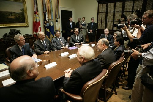 President George W. Bush meets with company representatives of vaccine manufacturers Friday, Oct. 7, 2005, in the Roosevelt Room of the White House. White House photo by Eric Draper