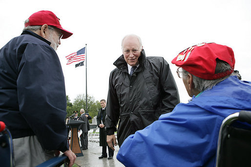 "Vice President Dick Cheney talks with veterans of the 526th Armored Infantry Battalion Friday, Oct. 7, 2005, after delivering remarks during a wreath-laying ceremony at the National World War II Memorial in Washington D.C. "".You served honorably in a desperate era for our country. And in pivotal hours of the Second World War, the 526th Armored Infantry Battalion was a valiant unit.One of the great strengths of this country is the unselfish courage of the citizen who steps forward, puts on the uniform, and stands ready to go directly into the face of danger,"" said the Vice President during his remarks. The ceremony was in honor of the 526th Armored Infantry Battalion which is the sole remaining, separate armored infantry battalion from World War II, whose soldiers defended the Belgian villages of Stavelot and Malmedy on December 16, 1944, the first day of the Battle of the Bulge. White House photo by David Bohrer"