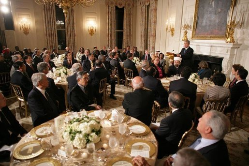 President George W. Bush addresses the Iftaar Dinner with Ambassadors and Muslim Leaders in the State Dining Room of the White House, Monday, Oct. 17, 2005. White House photo by Paul Morse