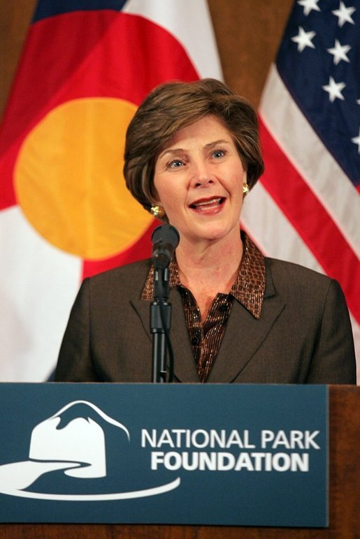 Mrs. Bush speaks at Phipps Mansion in Denver, Colo., Thursday, October 20, 2005, during a Junior Ranger luncheon. The Junior Ranger program introduces young people to America's national parks and historic sites, by teaching lessons about history, culture, and science, as well as respect for nature and appreciation for our role in protecting it. White House photo by Shealah Craighead