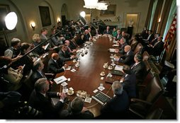 President George W. Bush addresses the press during a meeting with his Cabinet in the Cabinet Room Monday, Oct. 24, 2005. White House photo by Paul Morse
