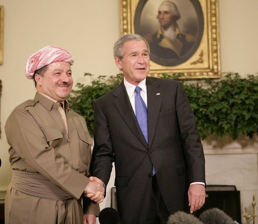 President George W. Bush welcomes Massoud Barzani, the President of the Kurdistan regional government of Iraq, to the Oval Office at the White House, Tuesday, Oct. 25, 2005. White House photo by Eric Draper