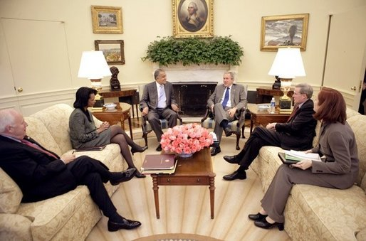 President George W. Bush meets with U.S. Ambassador to Iraq Dr. Zalmay Khalilzad in the Oval Office Wednesday, Oct. 26, 2005. White House photo by Eric Draper