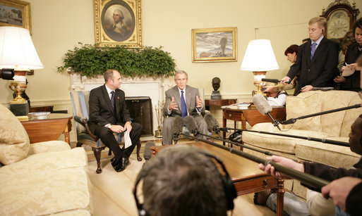 President George W. Bush is joined in the Oval Office by Macedonian Prime Minister Vlado Buckovski Wednesday, Oct. 26, 2005, for a photo availability. The President welcomed Prime Minister Buckovski and thanked him for his country's strong support in the war on terror. White House photo by Eric Draper
