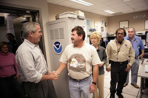 President George W. Bush visits the offices of the National Hurricane Center, Thursday, Oct. 27, 2005, in Miami, Fla. White House photo by Eric Draper