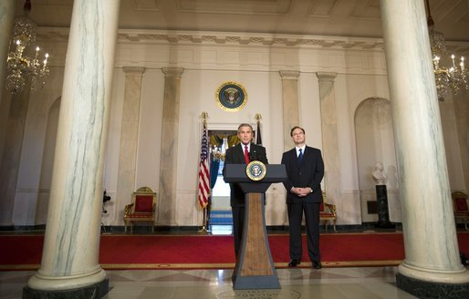 "President George W. Bush announces his nomination Monday, Oct. 31, 2005, of Judge Samuel A. Alito, Jr., as Associate Justice of the Supreme Court of the United States. In making his announcement, President Bush said, ""Judge Alito is one of the most accomplished and respected judges in America, and his long career in public service has given him an extraordinary breadth of experience."" White House photo by Paul Morse"