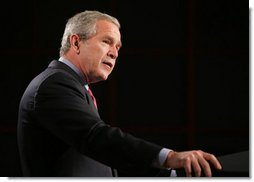 "President George W. Bush delivers his remarks regarding his National Strategy for Pandemic Influenza Preparedness and Response at the National Institute of Health in Bethesda, Md., Tuesday, Nov. 1, 2005. ""At this point, we do not have evidence that a pandemic is imminent. Most of the people in Southeast Asia who got sick were handling infected birds,"" said President Bush. ""And while the avian flu virus has spread from Asia to Europe, there are no reports of infected birds, animals, or people in the United States. Even if the virus does eventually appear on our shores in birds, that does not mean people in our country will be infected. Avian flu is still primarily an animal disease. And as of now, unless people come into direct, sustained contact with infected birds, it is unlikely they will come down with avian flu.""  White House photo by Paul Morse"
