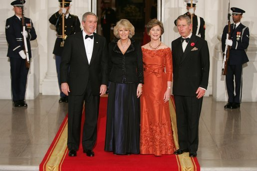 President George W. Bush and Laura Bush welcome the Prince of Wales and Duchess of Cornwall upon their arrival to the White House, Wednesday evening, Nov. 2, 2005. White House photo by Paul Morse