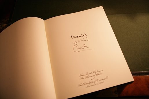 The signatures of the Prince of Wales and Duchess of Cornwall are seen in the official White House guest book, following their arrival for lunch at the White House, Wednesday, Nov. 2, 2005. White House photo by Krisanne Johnson