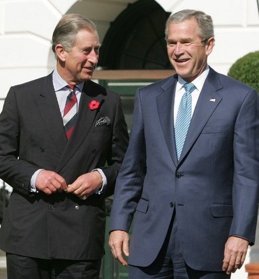 President George W. Bush and the Prince of Wales are seen together at the official welcome for the Prince and Duchess of Cornwall, at the White House, Wednesday, Nov. 2, 2005. White House photo by Paul Morse