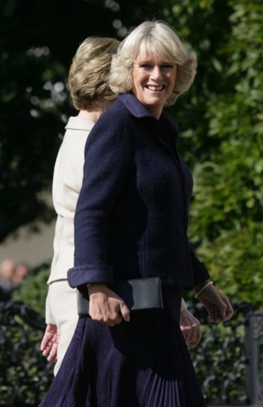 The Duchess of Cornwall walks to the White House with Laura Bush, following the arrival of the Prince of Wales and the Duchess for lunch at the White House, Wednesday, Nov. 2, 2005. White House photo by Shealah Craighead