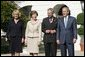 President George W. Bush and Laura Bush welcome the Prince of Wales and Duchess of Cornwall to the White House, Wednesday, Nov. 2, 2005. White House photo by Paul Morse