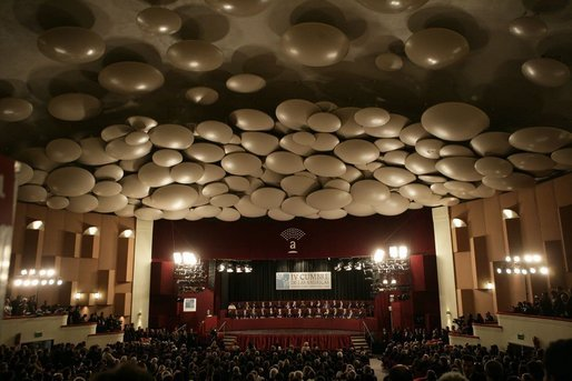 A wide view of the Teatro Auditorium in Mar del Plata, Argentina, as the opening ceremonies of the 2005 Summit of the Americas got under way Friday, Nov. 4, 2005. White House photo by Eric Draper