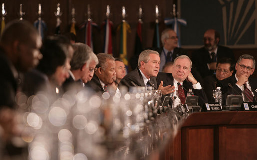 President George W. Bush speaks during the opening session Friday, Nov. 4, 2005, of the 2005 Summit of the Americas in Mar del Plata, Argentina. White House photo by Eric Draper
