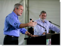 President George W. Bush speaks during a joint press statement with Brazilian President Luiz Inacio Lula da Sliva at the Granja do Torto in Brasilia, Brazil, Sunday, Nov. 6, 2005. White House photo by Paul Morse