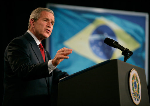 President George W. Bush delivers remarks in Brasilia, Brazil, Sunday, Nov. 6, 2005. White House photo by Eric Draper
