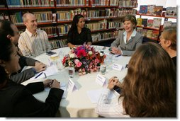 Laura Bush participates in a roundtable discussion Saturday, Nov. 6, 2005, at the Biblioteca Demonstrativa de Brasilia in Brasilia, Brazil. The biblioteca is the only public library in Brasilia.  White House photo by Krisanne Johnson