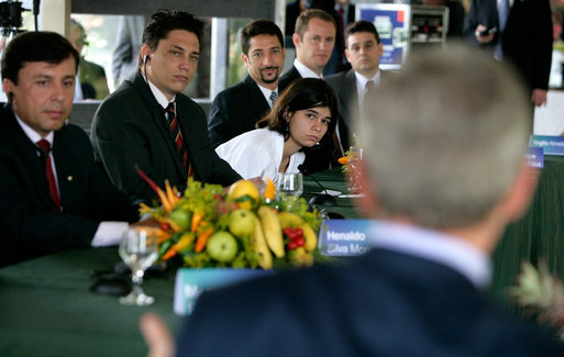Young Brazilian leaders listen to President George W. Bush during a roundtable discussion, Sunday, Nov. 6, 2005 in Brasilia, Brazil. White House photo by Eric Draper