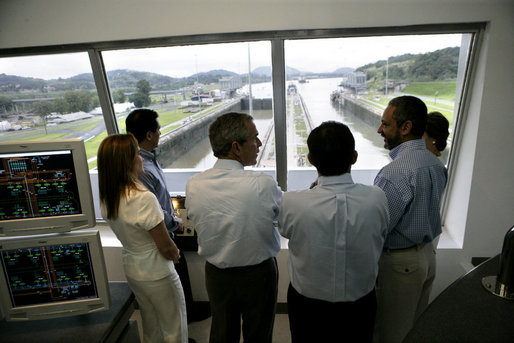 President George W. Bush tours the command center of the Panama Canal's Miraflores Locks with President Martin Torrijos of Panama in Panama City, Panama, Monday, Nov. 7, 2005. White House photo by Eric Draper