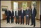 President George W. Bush meets with the 2005 Nobel Prize recipients, Tuesday, Nov. 8, 2005 in the Oval Office at the White House. From left to right are Dr. John Hall, 2005 Nobel Prize in Physics; Dr. Thomas C. Schelling, 2005 Nobel Prize in Economic Sciences; Dr. Roy J. Glauber, 2005 Nobel Prize in Physics; Dr. Richard R. Schrock and Dr. Robert H. Grubbs, 2005 Nobel Prize winners in Chemistry. White House photo by Paul Morse