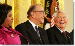Presidential Medal of Freedom recipients, Arthea Franklin, Alan Greenspan and Andy Griffith, react to comments, Wednesday, Nov. 9, 2005, during ceremonies at the White House. White House photo by Shealah Craighead