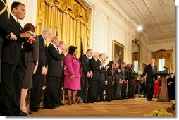 President George W. Bush introduces the 2005 recipients of the Presidential Medal of Freedom, Wednesday, Nov. 9, 2005 in the East Room of the White House.  White House photo by Shealah Craighead