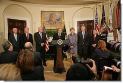 President George W. Bush delivers remarks in the Roosevelt Room of the White House, Wednesday, Nov. 9, 2005, updating the United States continuing efforts in assisting the victims of the South Asia earthquake.  White House photo by Shealah Craighead