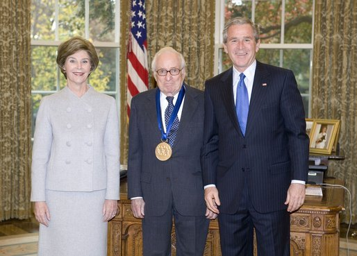 President George W. Bush and Laura Bush stand with arts advocate Leonard Garment, recipient of the 2005 National Medal of Arts, in the Oval Office Thursday, Nov. 10, 2005. White House photo by Eric Draper