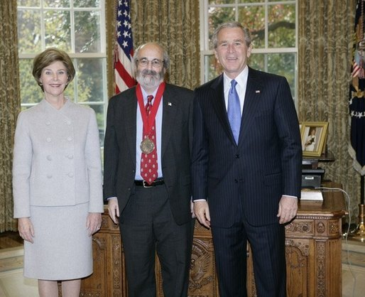 President George W. Bush and Laura Bush stand with 2005 National Humanities Medal recipient Alan Kors, historian, Thursday, Nov. 10, 2005 in the Oval Office at the White House. White House photo by Eric Draper