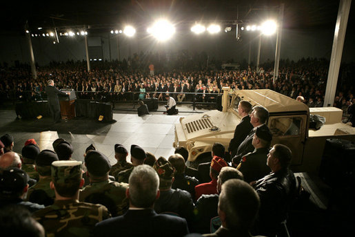 President George W. Bush delivers remarks on the war on terror, Friday, Nov. 11, 2005 at the Tobyhanna Army Depot in Tobyhanna, Pa. White House photo by Eric Draper