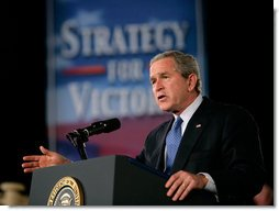 President George W. Bush gestures as he delivers remarks on the war on terror, Friday, Nov. 11, 2005 at the Tobyhanna Army Depot in Tobyhanna, Pa. White House photo by Eric Draper