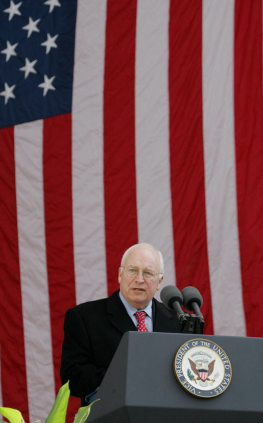 Vice President Dick Cheney addresses an audience, Friday, Nov. 11, 2005, at Veterans Day ceremonies at Arlington National Cemetery in Arlington, Va. White House photo by David Bohrer