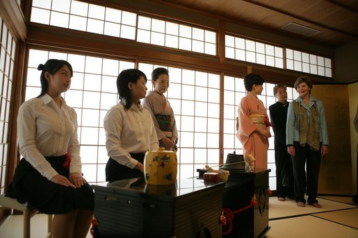 Mrs. Laura Bush participates in the Tea Ceremony Classroom at Doshisha Girls Junior High School and Senior High School during her visit Wednesday, Nov. 16, 2005, to Kyoto, Japan. White House photo by Shealah Craighead