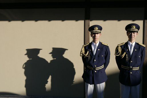 Japanese military honor guards stand at attention at the Guest House in Kyoto, Japan Wednesday, Nov. 16, 2005, where President and Mrs. Bush spent the night before attending the U.S.-Japan summit. White House photo by Eric Draper