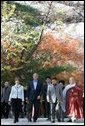 President George W. Bush and Laura Bush arrive at the Bulguksa Temple Thursday, Nov. 17, 2005, in Gyeongju, Korea with Korean President Moo Hyun Roh and his wife Yang-Sook Kwon.  White House photo by Shealah Craighead