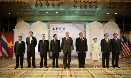 President George W. Bush stands with ASEAN leaders Friday, Nov. 18, 2005, at the Chosun Westin Hotel in Busan, Korea, site of the 2005 APEC conference. White House photo by Eric Draper