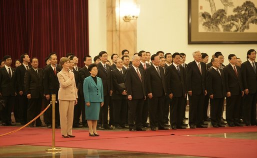 Laura Bush and Madame Liu, wife of President Hu Jintao of China, participate in the welcoming ceremony for President and Mrs. Bush Sunday, Nov. 20, 2005, at the Great Hall of the People in Beijing. White House photo by Eric Draper