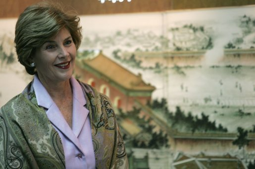 Laura Bush smiles as she tours the Beijing Urban Planning Museum Sunday, Nov. 20, 2005, in Beijing. White House photo by Shealah Craighead