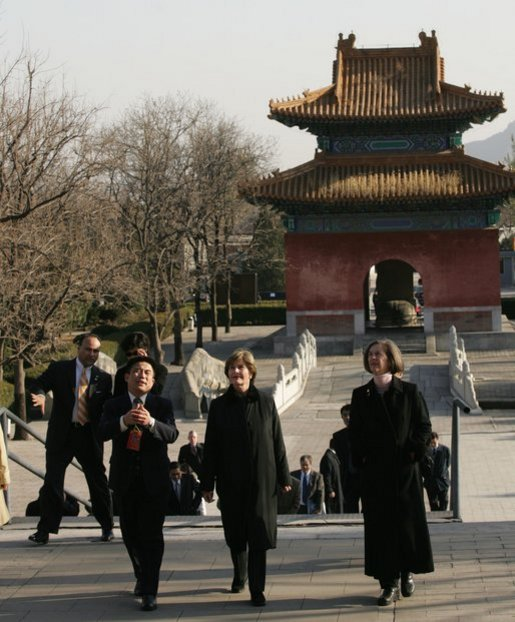 Mrs. Bush is joined by Mrs. Sarah Randt, wife of U.S. Ambassador to China Clark Randt, as they're taken on a tour Sunday, Nov. 20, 2005, of the Ming Tombs in Beijing. White House photo by Shealah Craighead