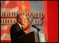 President George W. Bush delivers remarks Monday, Nov. 21, 2005, during his stop in Ulaanbaatar, Mongolia. White House photo by Shealah Craighead