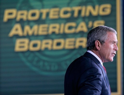 President George W. Bush addresses an audience Monday, Nov. 28, 2005 at the Davis-Monthan Air Force Base in Tucson, Arizona, on the importance of border security and the issue of immigration reform. White House photo by Eric Draper