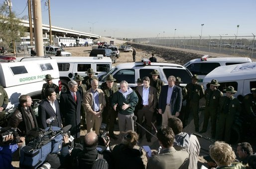 President George W. Bush speaks to the media following a driving tour of the El Paso Sector of the US-Mexico border Tuesday, Nov. 29, 2005. White House photo by Eric Draper