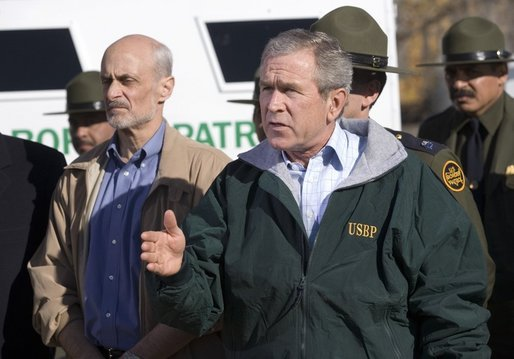 President George W. Bush delivers a statement on Border Security following a tour of the El Paso Sector of the US-Mexico border region, Tuesday, Nov. 29, 2005. Also pictured at left is Homeland Security Secretary Michael Chertoff. White House photo by Eric Draper
