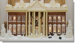 The White House gingerbread house, created by White House Executive Pastry Chef Thaddeus DuBois, is seen on display Wednesday, Nov. 30, 2005, in the State Dining Room. White House photo by Shealah Craighead