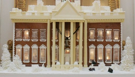 The White House gingerbread house, created by White House pastry chef Thaddeus DuBois, is seen on display Wednesday, Nov. 30, 2005, in the State Dining Room. White House photo by Shealah Craighead