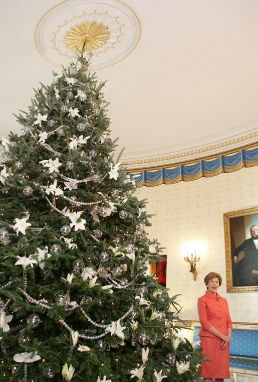 Mrs. Laura Bush stands next to the Blue Room Christmas tree, Wednesday, Nov. 30, 2005, as she answers questions during the press preview of the White House Christmas decorations. White House photo by Shealah Craighead