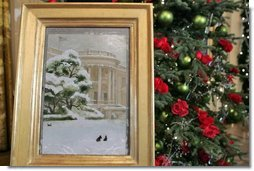 The painting by Jamie Wyeth that portrays a wintery White House as Barney, Miss Beazley and even, Willie the cat, is displayed in the East Room. The painting is the model for this year's White House Christmas Card.  White House photo by Shealah Craighead