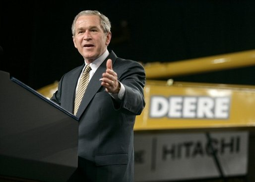 President George W. Bush addresses his remarks on the economy and tax relief to an audience in Kernersville, N.C., following a tour of the John Deere-Hitachi excavator assembly line, Monday, Dec. 5, 2005. White House photo by Eric Draper