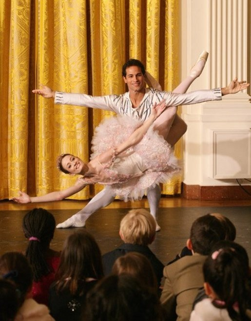 Children gather in the East Room of the White House, Monday, Dec. 5, 2005, as they watch a dance performance during the White House Children's Holiday Reception in the East Room. White House photo by Shealah Craighead